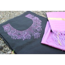 Black Chanderi and Lavender Cutwork set