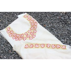 Cream Pashmina Cutwork kurta