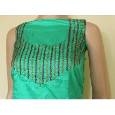 Green Pure silk kurta  material withembroidery