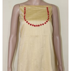 sandal Chanderi silk kurta material with crocheted flowers