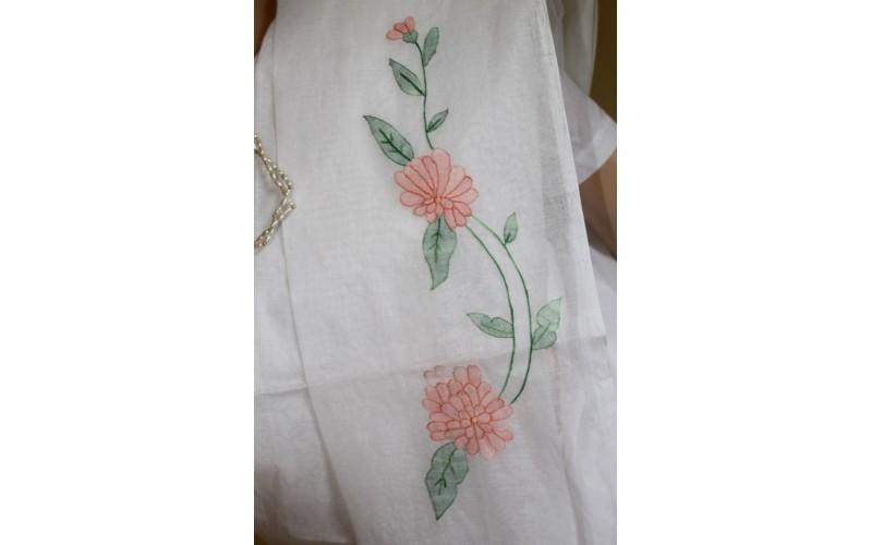 Hand Embroidery Cutwork Organdy Saree Hand Work Shadow