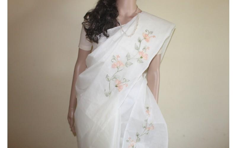 Hand embroidery cutwork organdy saree work shadow
