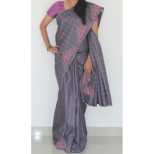 f68a9f49e5 Hand embroidery, cutwork, organdy saree, hand work, shadow work ...