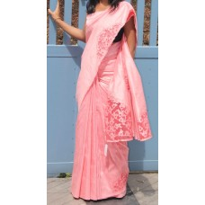 Carrot Peach Rose Silk Saree