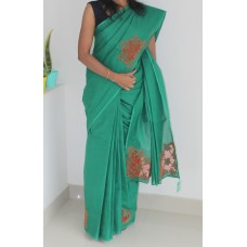 Bottle green Cutwork Saree
