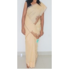 Brown Cutwork on Beige Organdy Saree