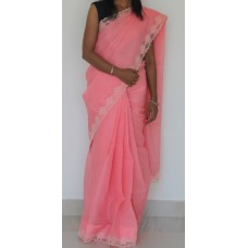 Carrot peach full border cutwork saree
