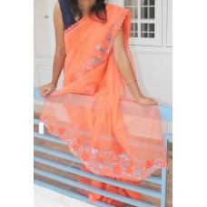 Candy orange network saree