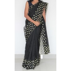 Black Silky Kota Embroidery saree