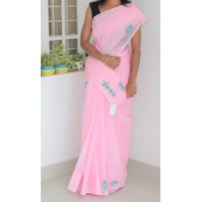 Baby Pink cross stitch kota check saree