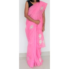 Baby Pink Cross stitch silky kota saree