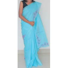 Blue organdy saree and Lavender cutwork