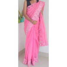 Bright pink full border silky kota saree