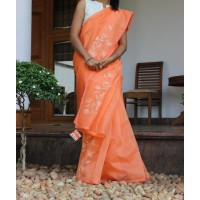 Carrot peach hand embroidered silky kota saree