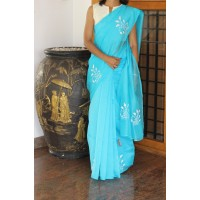 Bright blue beadwork silky kota saree