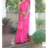 Rani pink cross stitch silky kota saree