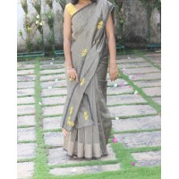 Golden black cross stitch saree