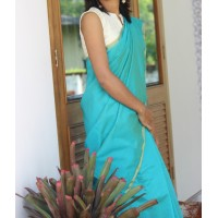 Turquiouuse blue Chanderi saree