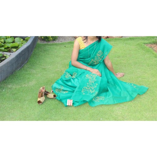 Bottle green beadwork silky kota saree