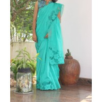 Peacock green cutwork silky kota saree