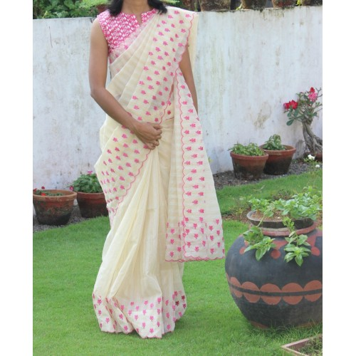 Golden cream kota silk embroidered saree