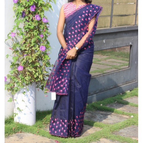 Navy blue full border embroidered saree