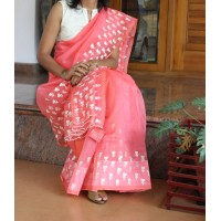 Carrot peach silky kota embroidered saree