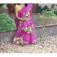 Purple silky kota network saree