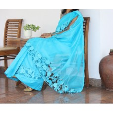Bright blue silky kota network saree