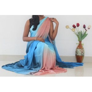 Ash grey brown satin chiffon saree