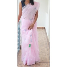 Baby pink synthetic kotta saree